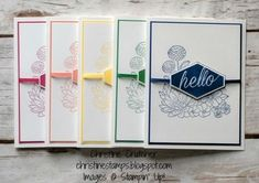 Sweet & simple hello cards featuring the new Accented Blooms stamp set and 2018-2020 in-colors from Stampin' Up! More details on my blog. Thanks for looking! #stampinup #accentedblooms #incolors