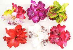 Hawaiian Flower Hair Clips & Brooch 6 Pcs - 2 In 1 Orchid Flowers *Us Seller*