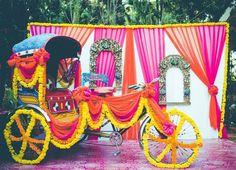 Colourful Mehendi thats high on Indian Kitsch! You'll love this free designer mehendi theme with super fun DIY mehendi decor ideas! Mehendi Decor Ideas, Mehndi Decor, Indian Decoration, Marriage Decoration, Wedding Stage Decorations, Photobooth Wedding Ideas, Night Wedding Decor, Wedding Mandap, Desi Wedding