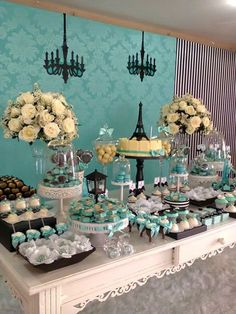 SPACE FESTAS BLOG: PARIS! PARIS! Paris Birthday, 16th Birthday, Birthday Parties, Tiffany Theme, Tiffany Party, Paris Party, Paris Theme, Candy Table, Candy Buffet