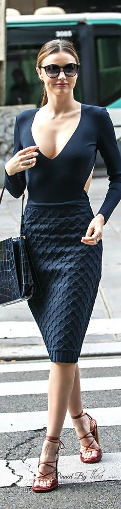 Street style high waist textured skirt and cut out long sleeves shirt.