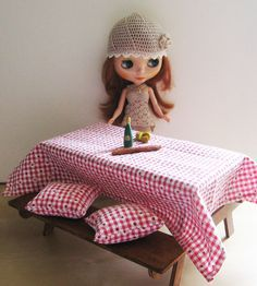 Playscale Miniature Wooden Picnic Table With Pillows and Tablecloth for Blythe and Barbie Playscale 1/6 scale by SachaKayMiniatures, €27.50