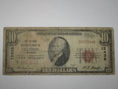 $10 1929 Trenton Tennessee TN National Currency Bank Note Bill! Ch. #12438 http://www.collectiblenotes.com/10-1929-trenton-tennessee-tn-national-currency-bank-note-bill-ch-12438/