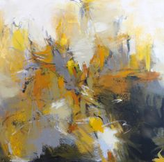 Yellow and Gray Abstraction, 24x24x1.5 acrylic on canvas by Debora L. Stewart www.deboralstewart.com