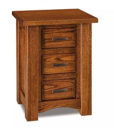 Amish Timbra Small 3-Drawer Nightstand The Timbra takes a small space and adds storage beautifully. Built in choice of wood, stain and hardware with custom options like slide-out water tray, touch nightlight and built in charging station. #nightstands