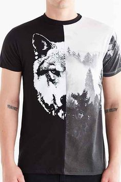 Pieced Wolf + Forest Tee - Urban Outfitters