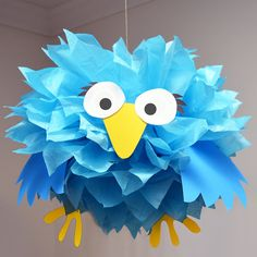 Blue Bird  Tissue Paper Pom Pom Animal Kit by PomLeMoose on Etsy