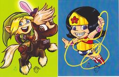 [NO LONGER AVAILABLE] Link & Wonder Woman mini print set by Mervyn McKoy. (2) 4.25X5.5 inch prints, each signed by the artist.