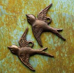 Antiqued Brass Bird Charms by PatinaQueen on Etsy, $2.50