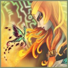 Midna's true form is beautifully rendered in this drawing! I love the twilight butterfly, too.