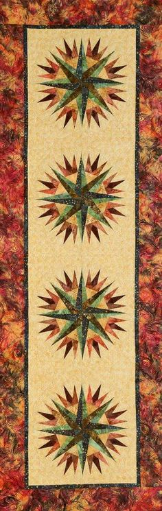 Compass Rose by Quiltworkx Circle Quilt Patterns, Circle Quilts, Batik Quilts, Lap Quilts, Mariners Compass, Table Runner Pattern, Compass Rose, Foundation Paper Piecing, Mug Rugs