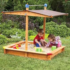 This high quality covered Wooden Sandbox is carefully crafted in Austria from water-treated wood, making it safe for children and pets. Its solid spruce frame is bottomless to allow for deeper sand, a