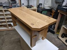 Shoe bench - all mortise and tenon joints, and some butterflies to address cracks : woodworking #woodworkingbench