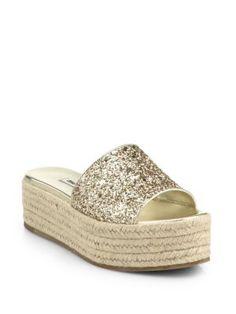 Miu Miu Glittered Leather Espadrille Platform Sandals | Shoes and Footwear