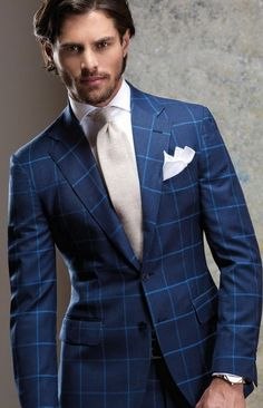 3 piece mens vested wool blue windowpane checkered SUIT | mens ...