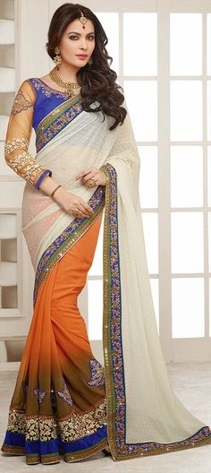 Sarees, Faux Georgette, Stone, Lace, Resham, Orange, White and Off White Color Family