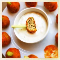 Buffalo Chicken Meatballs. Gluten free, delicious and perfect for a Football or Halloween party. YUM.