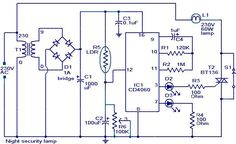 Night security light - Electronic Circuits and Diagram-Electronics Projects and Design Electrical Projects, Electronics Projects, Electronic Engineering, Electrical Engineering, Simple Circuit, Rules For Kids, Circuit Diagram, Shop Layout, Arduino