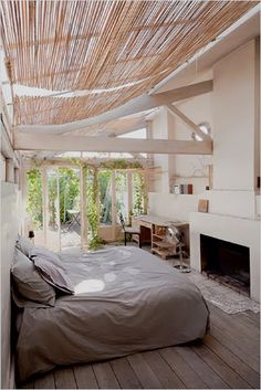 When I was a teenager, I had a dream about sleeping in a bedroom with a glass ceiling. There was ivy growing over it and a full moon. Very cool!
