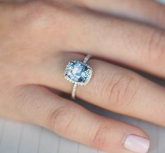 Sapphire Engagement Ring 14k White Gold 3.1ct by EidelPrecious