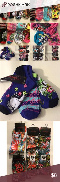 Bundle for Ed Hardy Socks Ed Hardy socks Mix and Match                                       BACK TO SCHOOL SOCKS. 1 pair for $8 or 4 for $24 ($6)   Booties- 2pair Ankle-3pair long- 2pair XL (calf)- 2pair Ed Hardy Accessories Hosiery & Socks