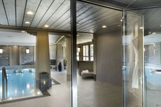 Beautiful Chalet Design with Luxury Touch: Fascinating Chalet In The French Alps Interior Design Glass Wall Floor Design, House Design, Modern Design Pictures, Inside Pool, Courchevel 1850, Chalet Design, Lounge, Indoor Swimming Pools, French Alps
