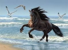 Horse galloping in the surf