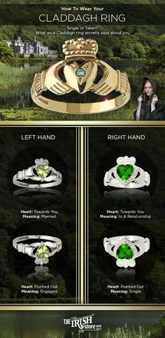 Are you single or taken? Use this guide from TheIrishStore.com to learn how you should be wearing your Irish Claddagh ring.