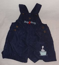Baby Boy Blue Short Overalls Ship Ahoy Boat Size 12 Months One-Piece #Unbranded #Everyday