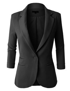 LE3NO Womens Fitted 3/4 Sleeve Blazer Jacket   LE3NO