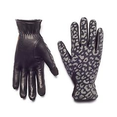 HONNS Women's MaryJane Leopard Gloves (Premium European Lambskin Palm, Plush Lining, Touchscreen Compatible) Noir S -- You can get additional details at the image link.