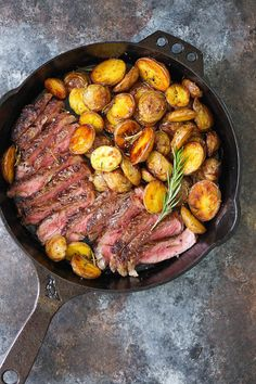 Skillet Steak with Rosemary Roasted Potatoes - The BEST and easiest 5 ingredient dinner ever! With perfectly golden brown, crisp, rosemary roasted potatoes and the most amazing buttery skillet steak!