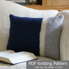 """The """"Main Line Pillows"""" knitting pattern is simple and easy.  Knit with super bulky yarn on big needles.  Two  (2) color block style designs included in the pattern.  This pillow would look great in many different color combinations.  Modern design looks great in any decor.  Detailed finishing instructions included in the pattern.  Great pattern for a confident beginner!"""