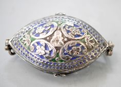 Enameled box with figural element probably used as a Bezu band, Persian style figure , very nice silver. (Singkiang archives sold )