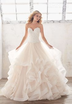 Crystal Beaded Alençon Lace on Flounced Tulle Ball Gown | Morilee by Madeline Gardner Marcia8116 | http://trib.al/qBu4U5x