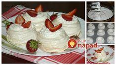 Bielkové košíky plnené smotanovým krémom Food And Drink, Pudding, Baking, Basket, Custard Pudding, Bakken, Puddings, Backen, Avocado Pudding
