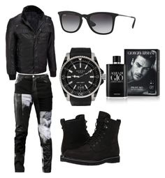 """""""Untitled #179"""" by miskimuslim ❤ liked on Polyvore featuring Wilsons Leather, Any Old Iron, Timberland, Gucci, Ray-Ban, Giorgio Armani, men's fashion and menswear"""