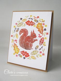 Red Squirrel and Autumn Leaves - hand-carved stamps tutorial