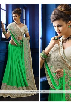 Green Color Chiffon And Net Fabric Designer Saree