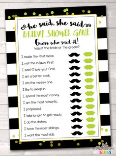 ee4a0d517cf Black Stripes and Lime Green Guess Who Bridal Shower Game