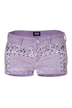 D DOLCE & GABBANA -- [Lilac Printed Cotton Shorts]'h4d'