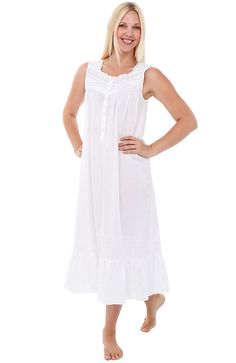 16a130bd2ce Womens Lydia Cotton Nightgown- Long Sleeveless Victorian Sleepwear - White  - C312O7S7YFQ