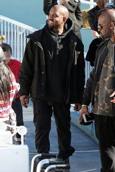 Kanye West wearing  Adidas Yeezy Season 1 Black Half Zip Hoodie, Adidas Yeezy Season 1 Black Hooded Jacket, Acne Ace Used Cash Jeans, Adidas Yeezy Boost  750