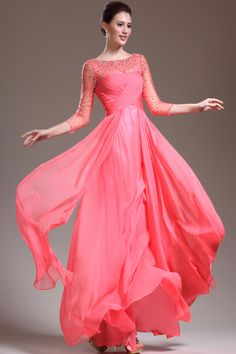 $139.99 - New Arrival 3 4 Length Sleeve A Line Floor Length Prom Dresses Beaded Bodice Shiny for sale