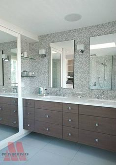 Floating Consoles His + Her sinks Tiled walls Double Vanity, Double Sinks, Bathroom Renovations, Bathroom Ideas, Modern Traditional, Wall Tiles, Mirror, Consoles, Walls