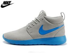 best service 9c74c 591f9 2013 Mens Nike Roshe One High Anti Fur Waterproof Running Shoes Light Gray  Bright Blue,