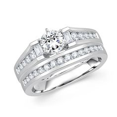 Handmade Round Diamond Engagement Ring in Channel Setting | Metal Type: 14K White Gold | 15% OFF Rings Holiday Special! Coupon Code: holiday15