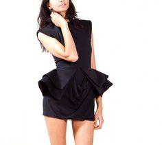 Sally Lapointe Black Peplum Mini Dress