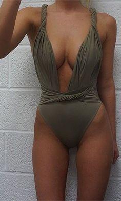 Ocean City Olive Green Twist Strap Plunge V Neck Backless Halter Ruched Twist Belt Swimsuit