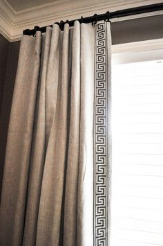 Miles Design Group- Greek Key Linen Drapery Panels dark rod on dark wall Rustic Curtains, Linen Curtains, Hanging Curtains, Curtains With Blinds, White Curtains, Curtains 2018, Bedroom Drapes, Patterned Curtains, Purple Curtains